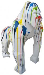 Casa Padrino Designer Deko Skulptur Gorilla Affe Weiß / Mehrfarbig 118 x 78 x H. 128 cm - Deko Tierfigur - Riesige Gartendekofigur