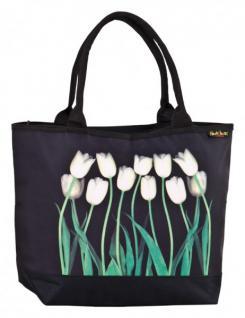 Designer Shoppertasche mit weißen Tulpen - Elegante Tasche - Luxus Design