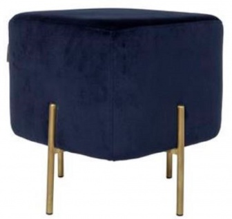 Casa Padrino Luxus Sitzhocker Dunkelblau / Messingfarben 40 x 40 x H. 45 cm - Designer Wohnzimmermöbel