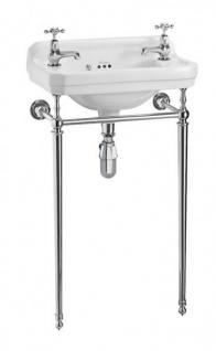 Casa Padrino Jugendstil Stand Gäste WC Waschtisch Weiß / Chrom B 51cm mit 2 Hahnlöchern - Art Deco Waschbecken Barock Antik Stil