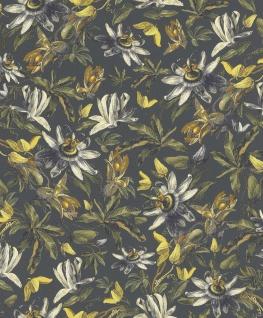 Casa Padrino Luxus Papiertapete Pflanzen Grau / Mehrfarbig - 10, 05 x 0, 53 m - Tapete Mustertapete Botanisch Blumen