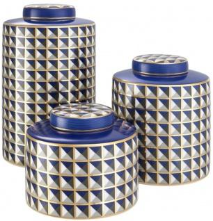 Casa Padrino Luxus Porzellan Design Dosen 3er Set Blau / Mehrfarbig - Luxus Qualität
