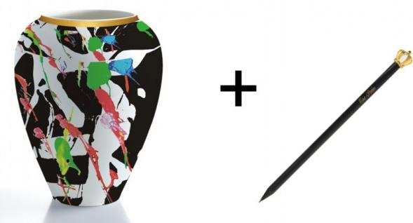 Harald Glööckler Porzellan Vase Art + Luxus Bleistift von Casa Padrino - Barock Dekoration