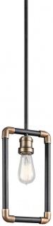 Casa Padrino Luxus Industrial Design Hängeleuchte Schwarz / Messingfarben 17, 1 x 5, 1 x H. 32, 4 cm - Elegante Industrie Stil Hängelampe - Industrie Stil Leuchten