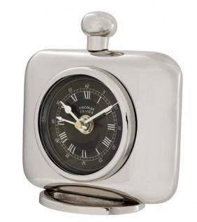 Casa Padrino Vintage Luxus Tischuhr Silberfarben Messing vernickelt - Edel & Prunkvoll - Tisch Uhr - Vorschau