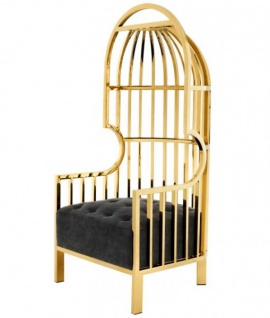 Casa Padrino Luxus Designer Art Deco Salon Sessel Schwarz / Gold - Luxus Kollektion