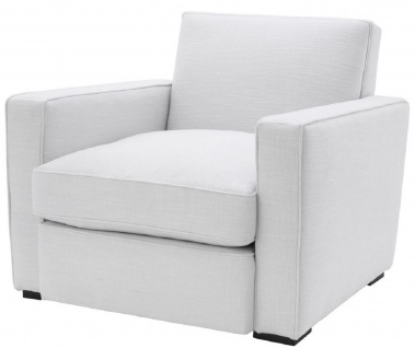 Casa Padrino Luxus Sessel Weiß / Schwarz 95 x 103, 5 x H. 82 cm - Edler Wohnzimmer Sessel - Luxus Qualität