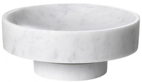 Casa Padrino Luxus Schale Weiß Ø 33 x H. 13 cm - Runde Deko Schüssel aus hochwertigem Carrara Marmor - Luxus Deko Accessoires