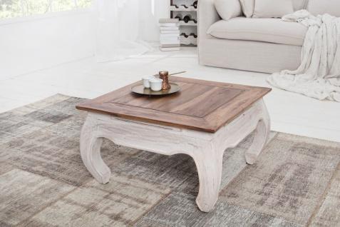 Casa Padrino Designer Beistelltisch Natur / Weiss Mahagoni 60 cm x H. 35 cm - Massivholz - Landhausstil - Vorschau 5