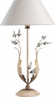 Casa Padrino Luxus Barock Tischleuchte Gold mit Glaskristallen - Blattgold Tisch Lampe - Handgefertigt in Italien