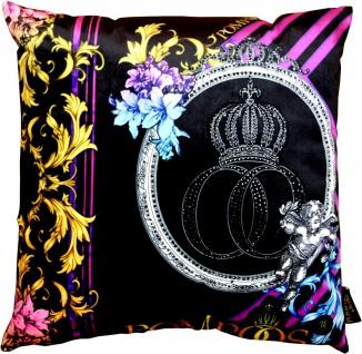 Harald Glööckler Designer Deko Kissen Pompöös by Casa Padrino mit Glitzersteinen Purple / Black - Art Collection -