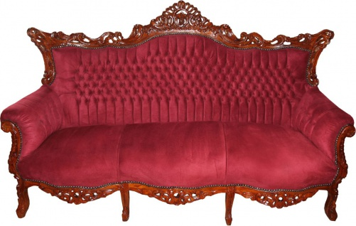 Casa Padrino Barock 3-er Sofa Master in Bordeaux / Braun - Wohnzimmer Möbel Couch Lounge - Limited Edition