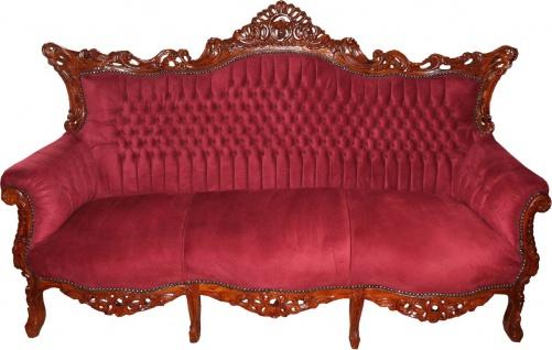 Casa Padrino Barock 3-er Sofa Master in Bordeaux / Braun - Wohnzimmer Möbel Couch Lounge - Limited Edition - Vorschau 1