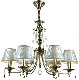 Casa Padrino Barockstil Kronleuchter 6-Flammig Bronze / Blau Ø 70 x H. 54 cm - Barock Lüster
