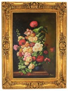 Handgemaltes Barock Öl Gemälde Blumen Stilleben Mod2 Gold Prunk Rahmen 130 x 100 x 10 cm - Massives Material