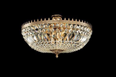 Casa Padrino Barock Kristall Decken Kronleuchter Gold 54, 5 x H 37 cm Antik Stil - Möbel Lüster Leuchter Hängeleuchte Hängelampe
