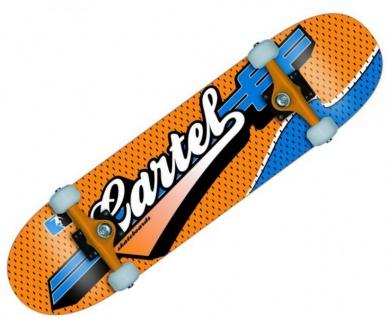 Cartel Skateboard Komplettboard Sports Blue / Orange 7.5 inch - Profi Complete Skateboard mit Koston Kugellagern