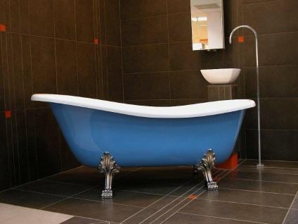 Freistehende Luxus Badewanne Jugendstil Roma Hellblau/Weiß/Chrome 1470mm - Barock Antik Badezimmer