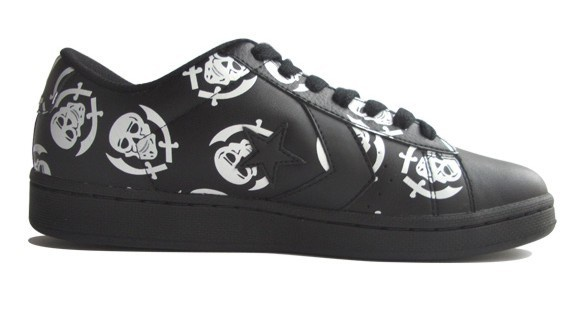 Converse Skateboard Schuhe Pro Leather VR Ox Black / White Skulls Sneaker Sneakers Shoes