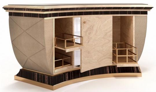 Casa Padrino Luxus Bartheke mit Kühlschrank Beige / Schwarz / Gold / Bronze 225 x 102 x H. 98 cm - Handgefertigter Bartisch - Hausbar - Hotel Möbel - Luxus Qualität - Made in Italy