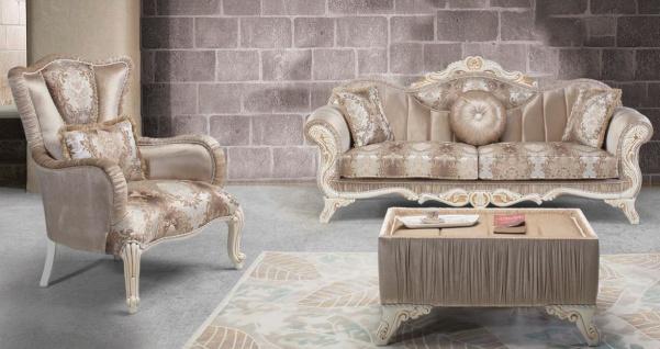 Casa Padrino Luxus Barock Wohnzimmer Set Beige / Weiß / Gold - 2 Sofas & 2 Sessel & 1 Beistelltisch - Prunkvolle Wohnzimmer Möbel im Barockstil