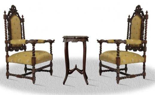 Casa Padrino Barock Thronstuhl Set mit Beistelltisch - Antik Wohnzimmer Möbel