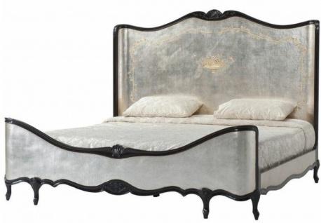 Casa Padrino Luxus Barock Doppelbett Antik Silber / Schwarz - Prunkvolles Massivholz Bett mit Kopfteil - Barock Schlafzimmer Möbel