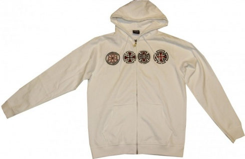 Independent Skateboard Pullover Zip Hooded White Sweater
