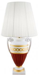 Casa Padrino Barock Tischleuchte Weiß / Rot / Gold Ø 40 x H. 75 cm - Wohnzimmer Keramik Lampe im Barockstil