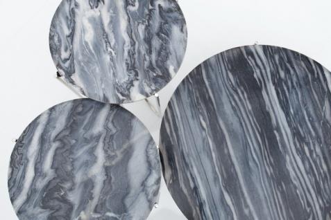 Casa Padrino Designer Beistelltisch mit Marmorplatte Ø 60 cm Grau / Silber H. 33 cm - Unikat - Vorschau 2