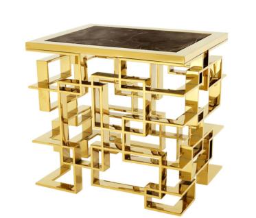Casa Padrino Luxus Art Deco Designer Beistelltisch Gold mit brauner Marmorplatte - Luxus Kollektion