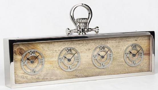 Casa Padrino 4er Tischuhr Silber / Naturfarben 52 x 5 x H. 25 cm - Dekorative Schreibtischuhr - Edle Schreibtisch Deko