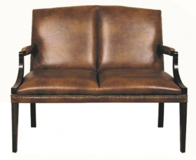 Casa Padrino 2er Sitzbank mit Armlehnen Braun / Schwarz 120 x 60 x H. 100 cm - Echtleder Möbel
