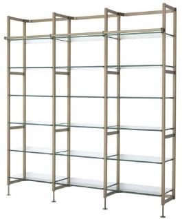Casa Padrino Luxus Regalschrank Messingfarben 222, 5 x 51 x H. 238 cm - Edelstahl Schrankwand mit 18 verstellbaren Glasregalen - Wohnzimmerschrank - Büroschrank - Luxus Möbel - Vorschau 1