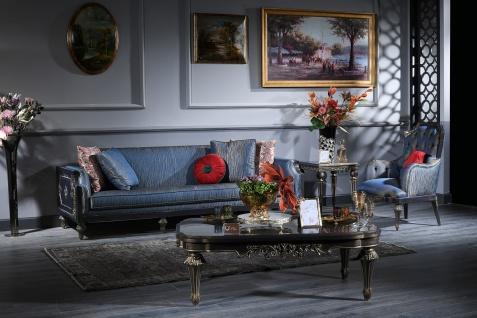 Casa Padrino Luxus Barock Couchtisch Blau / Gold / Schwarz 131 x 85 x H. 45 cm - Wohnzimmertisch im Barockstil - Vorschau 5