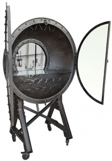 Casa Padrino Metall Barschrank mit 2 Glastüren und Rollen Schwarz 115 x 70 x H. 182 cm - Weinschrank - Barmöbel