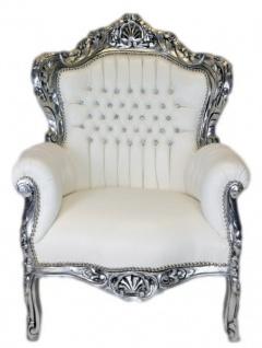 Casa Padrino Barock Sessel King Weiß Lederoptik / Silber mit Glitzersteinen - Barock Lounge Möbel