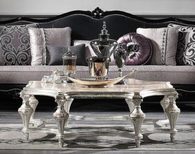 Casa Padrino Luxus Barock Couchtisch Antik Silber 134 x 134 x H. 46 cm - Prunkvoller Massivholz Wohnzimmertisch mit Glasplatte - Luxus Qualität