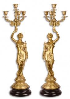 Casa Padrino Barock Kerzenständer Set Gold / Schwarz 20 x 20 x H. 64 cm - Barockstil Kerzenhalter