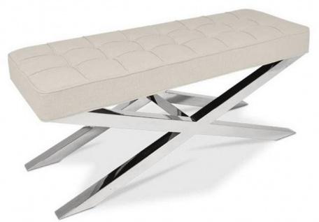 Casa Padrino Luxus Chesterfield Sitzbank Beige / Silber 120 x 42 x H. 50 cm - Wohnzimmermöbel