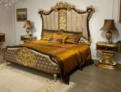 Casa Padrino Luxus Barock Schlafzimmer Set Silber / Dunkelbraun / Gold - 1 Doppelbett mit Kopfteil & 2 Nachtkommoden - Hochwertige Schlafzimmer Möbel im Barockstil - Edel & Prunkvoll