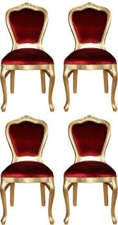 Casa Padrino Luxus Barock Esszimmer Set Bordeauxrot / Gold 45 x 46 x H. 99 cm - 4 handgefertigte Esszimmerstühle - Barock Esszimmermöbel