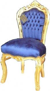 Casa Padrino Barock Esszimmer Stuhl Royalblau / Gold