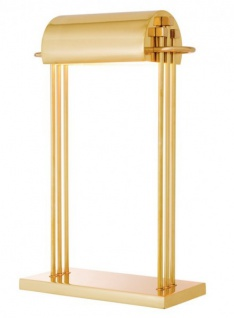 Casa Padrino Luxus Schreibtisch Leuchte Messing poliert - Leuchte Lampe - Tischleuchte Tischlampe