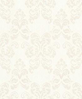 Casa Padrino Barock Textiltapete Weiß / Silber 10, 05 x 0, 53 m - Deko Accessoires im Barockstil