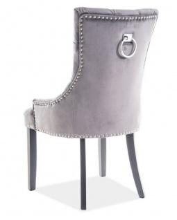 Casa Padrino Luxus Chesterfield Esszimmer Stuhl Grau / Silber / Schwarz - Küchenstuhl mit Samtstoff - Esszimmer Möbel - Vorschau 2