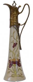 Casa Padrino Jugendstil Krug mit Deckel Antik Messingfarben / Mehrfarbig H. 40 cm - Barock & Jugendstil Deko Accessoires