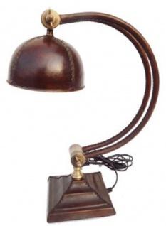 Casa Padrino Luxus Schreibtischleuchte Antik Braun / Messingfarben 17 x 32 x H. 48 cm - Gebogene Luxus Tischleuchte