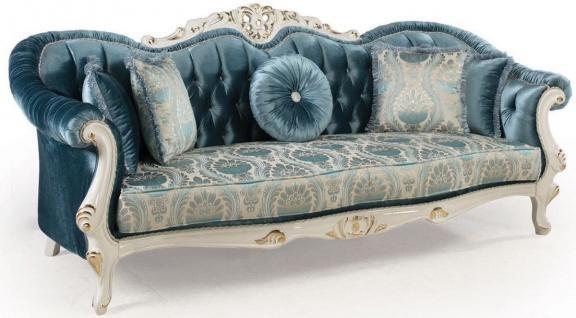 Casa Padrino Luxus Barock Wohnzimmer Sofa mit Kissen Blau / Weiß / Gold 240 x 87 x H. 99 cm - Barock Möbel - Edel & Prunkvoll