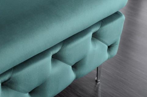 Casa Padrino Chesterfield Samt Hocker Türkis / Silber 90 x 63 x H. 47 cm - Moderner rechteckiger Sitzhocker - Wohnzimmermöbel - Vorschau 4